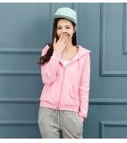 CVC80/20 분홍색 긴 소매 스포츠 공백 차가운 얇은 여자는 Hoodies를 위로 지퍼로 잠근다
