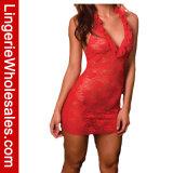 Lingerie sexy du V-Collet des femmes de lacet de Halter de chemises de nuit florales profondes de Chemise