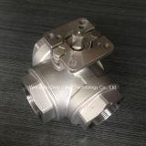 L puerto válvula de bola de tres vías con ISO5211 almohadilla de montaje