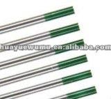 Électrode pure de tungstène de bout de vert de qualité