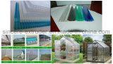 Chaîne de production Multi-Creuse de feuille de PC ligne PC+UV d'extrusion de panneau de Sun de polycarbonate de machines d'extrusion de feuille de réseau de cavité de PC