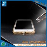 TPU macio com a caixa do telefone de Electropalting do metal do espelho dos Rhinestones para o iPhone 7/7plus
