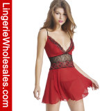 Женское бельё Ravishing красного флористического Babydoll шнурка Strappy сексуальное для женщин