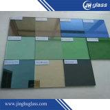 建物のための6mmの平らな深緑色の薄板にされた反射ガラス