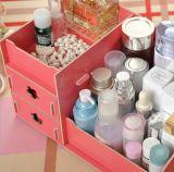 Casella di memoria cosmetica da tavolino di legno multifunzionale di DIY