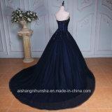Applique luxuoso que perla o vestido longo do baile de finalistas da noite da garganta do querido