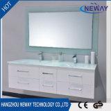 Cabina de cuarto de baño montada en la pared moderna de los muebles del PVC con el lavabo de cristal