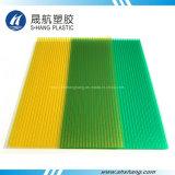 Scheda vuota di plastica glassata del policarbonato giallo verde