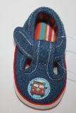 ジーンズファブリック赤ん坊靴の偶然靴Ws17531