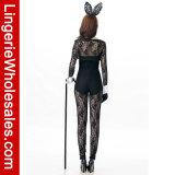 Spitze-langes Hülsen-Häschen-Spielanzug-Kostüm der reizvollen Frauen für Halloween-Partei-Kleid