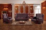 Luxuxhöhen-Rückseiten-rotes ledernes Chesterfield-Sofa gesetztes Ms-09#