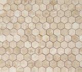 Mattonelle di mosaico di marmo di esagono di Crema Marfil, mattonelle bianche di esagono