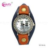 Reloj automático plateado metal al por mayor del reloj de cuero de la pulsera