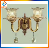 Lámpara de pared de cristal americana de bronce antigua de la vendimia del estilo
