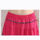 民族のStyelの綿によって縞で飾られるプリーツをつけられた伸縮性があるウエストの長いスカート