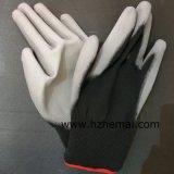 黒いやしPUのコーティングの安全ナイロン作業手袋PUの手袋