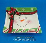 Piatto di ceramica dipinto a mano del pupazzo di neve nel quadrato