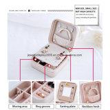 Mini caja de almacenaje portable de la PU de la joyería del anillo del collar de los pendientes de la cremallera con el espejo