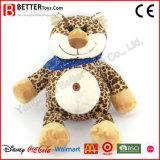 Netter weicher Spielzeug-Karikatur-Leopard im Schal