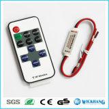 Regulador sin hilos del RF del mini amortiguador del LED para sola C.C. 5-24V de la luz de tira del color LED