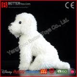 Brinquedo realístico do animal enchido da caniche branca macia Lifelike do cão do luxuoso