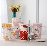 Taza de café de cerámica al por mayor 16oz con la cuchara para la promoción