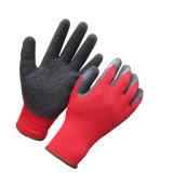 Le latex rouge de noir de polyester a enduit des gants de travail de sûreté