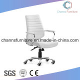 Form Chrom Metallweiße Manager-lederner Stuhl-Büro-Möbel