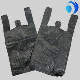 Sacchetto impresso normale Sacchetto-Nero di plastica della maglietta