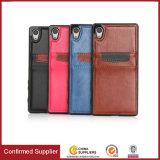 Neuester Einbauschlitz-erstklassiger lederner Telefon-Kasten für Sony Xperia E4 Z5