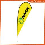 Bandeira amarela feita sob encomenda da pena de Waterdrop para Sandbeach e o anúncio ao ar livre