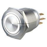 19mm impermeable momentánea 1NO1NC LED amarillo metal interruptor de botón