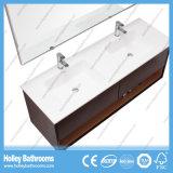 Высокой мебель ванной комнаты типа установленная стеной широкая с 2 тазиками (BF373D)