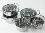 12PCSステンレス鋼の調理器具はガラスふたによってセットした