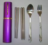 Портативный Cutlery палочка вилки ложки нержавеющей стали установил с алюминиевым пакетом коробки