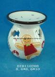 Bruciatore di incenso di ceramica dipinto a mano con la decorazione di Gingerbreadman