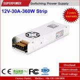 bloc d'alimentation de bande de 12V 30A 360W pour le cadre d'éclairage LED