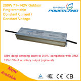 fuente de alimentación actual de 200W 71~142V/constante constante programable al aire libre del voltaje LED