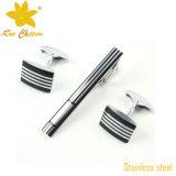 Mancuernas del acero inoxidable Tieclip-018 y conjunto del clip de lazo