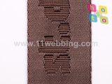 O Webbing de nylon falsificado do jacquard do preto 38mm pode ser logotipo feito sob encomenda
