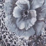 Schwarze Blume gedruckter Strand-Schal mit Troddel