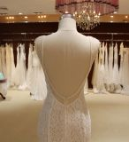 Mermaid Hand-Beaded V Neck Open Back Wedding Dress