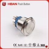 interruttore di pulsante dell'acciaio inossidabile di tensione del cerchio LED 12 di 25mm