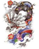 Tatuaje impermeable temporal del arte de la etiqueta engomada del tatuaje de la muchacha del geisha de la belleza
