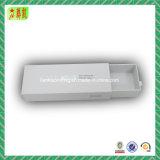 Rectángulo de papel rígido del cajón de lujo con la hoja que estampa insignia