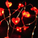 Красный свет медного провода формы сердца Fairy на день Valentine