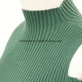 Dame Ribbed Stretch Sweater mit Tau-Schulter und lange Hülsen-Scheinstutzen