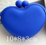 Saco feito sob encomenda da moeda da pressão da borracha de silicone da forma do coração