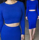 Form strickte reizvoller runder Muffen-Stutzen zweiteiliges Bodycon Kleid