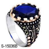 Anel de prata dos homens do Zirconia da safira da jóia 925 da forma